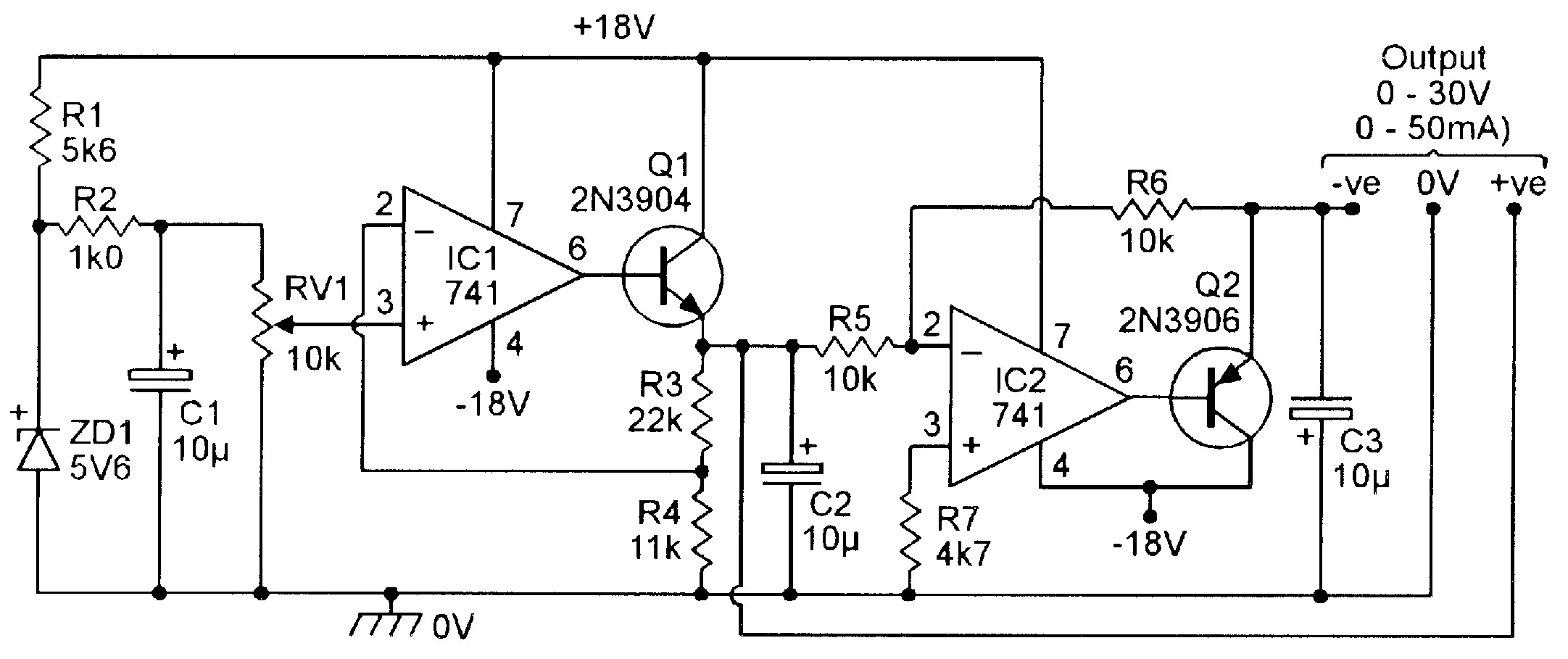 Op Amp Cookbook Part 4 Nuts Volts Magazine Audio Indicator By 741 Figure 23 Simple Center Tapped 0 To 30v Psu
