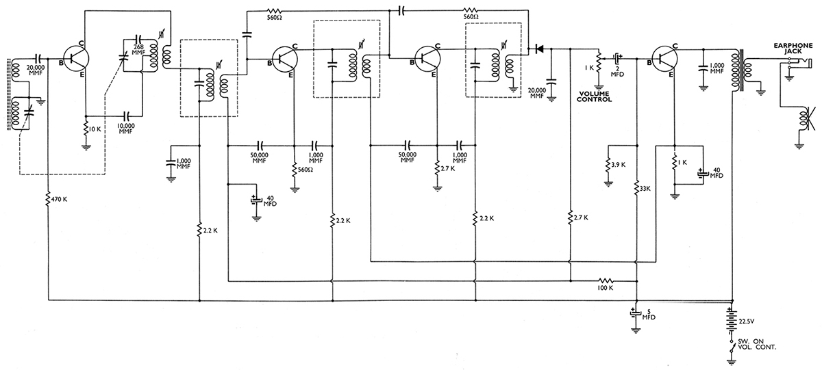 The Tr Tor Radio Nuts Volts Magazine. Ure 3 The Original Circuit Drawing As Shown On Patent Application Four Npn Tr Tors Were Used Note That Mmf Pf. Wiring. Zenith Transistor Radio Schematics At Scoala.co