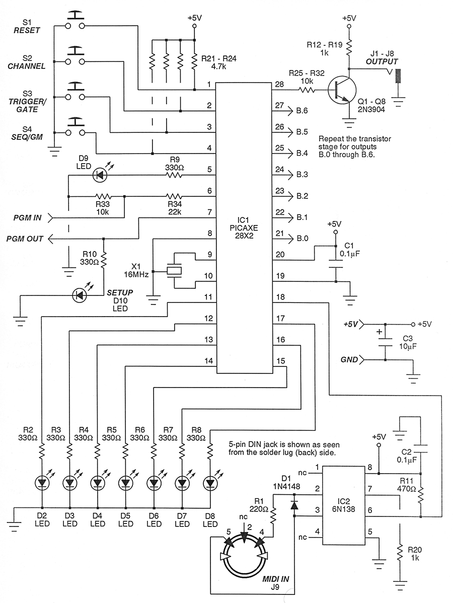Build A Midi To Logic Controller Nuts Volts Magazine Led Chaser The Leds In This Circuit Produce Chasing Pattern Schematic Of