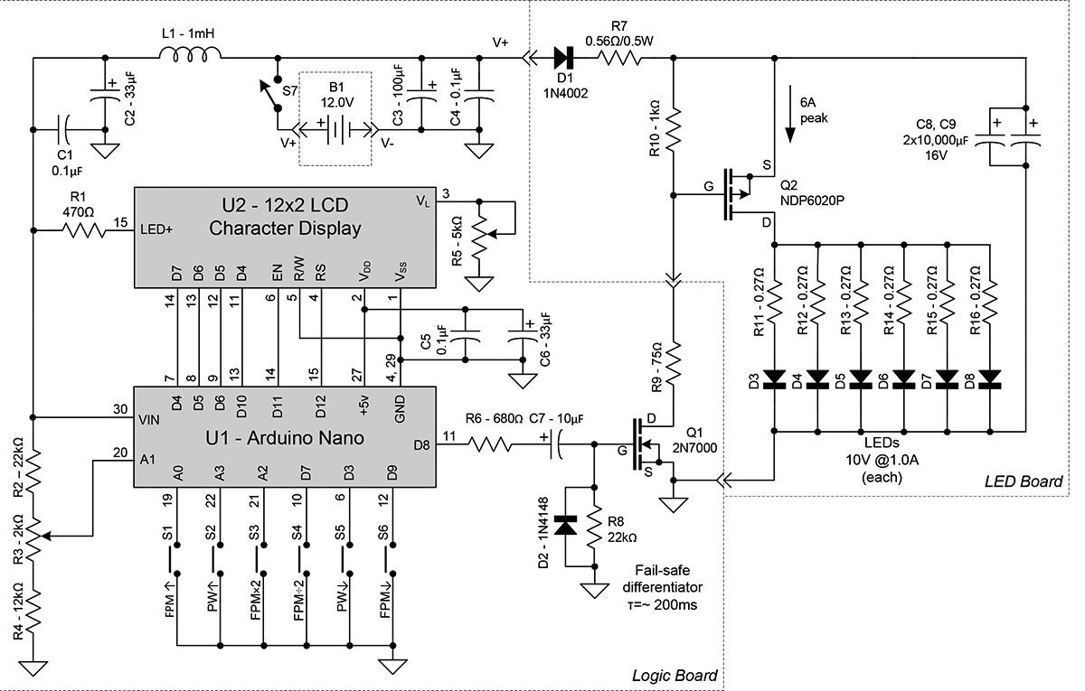 Build The Stroboduino Nuts Volts Magazine Also 555 Timer Led Flasher Circuit Additionally Diagrams Low Parts Count As Seen In Schematic Figure 2 Is Due To High Level Of Integration Arduino And An Integrated Lcd Module