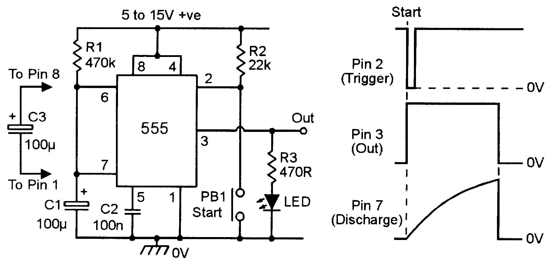 555 Monostable Circuits Nuts Volts Magazine Figure 2 Voltage Divider Setting Comparator Input Practical Timer 6