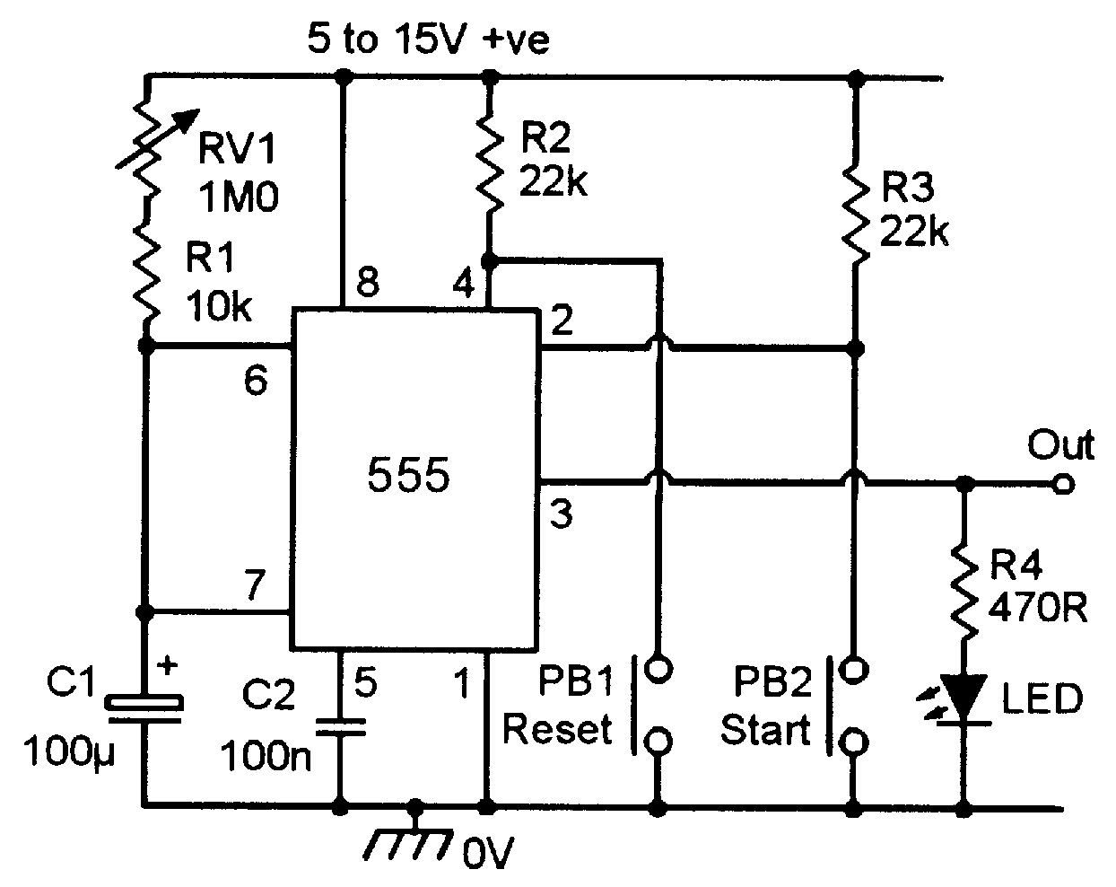 555 Monostable Circuits Nuts Volts Magazine Above Circuit Diagram For Diode Matrix Showing Wiring References Practical Timer