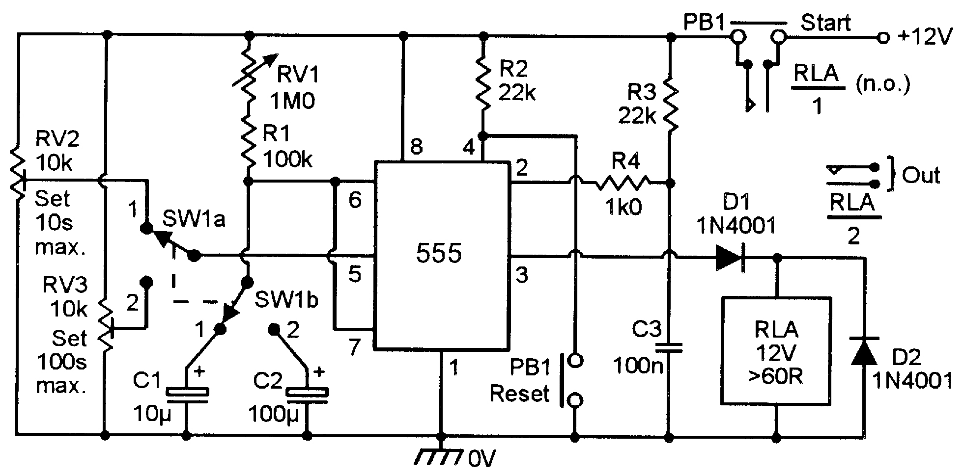 monostable circuits nuts volts magazine for the figure 10 precision compensated two range 0 9s 10s 9s 100s timer