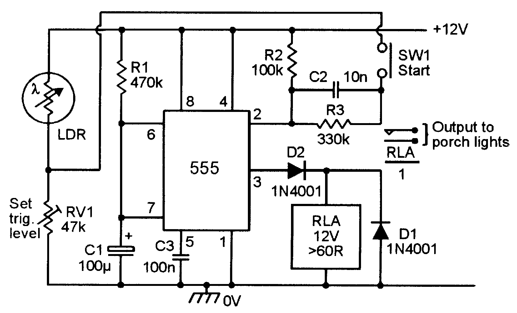 555 Monostable Circuits Nuts Volts Magazine Negative Auxiliary Voltage Circuit Schematic Figure 13 Automatic Porch Light Turns On For A Pre Set Period Only When Triggered At Night