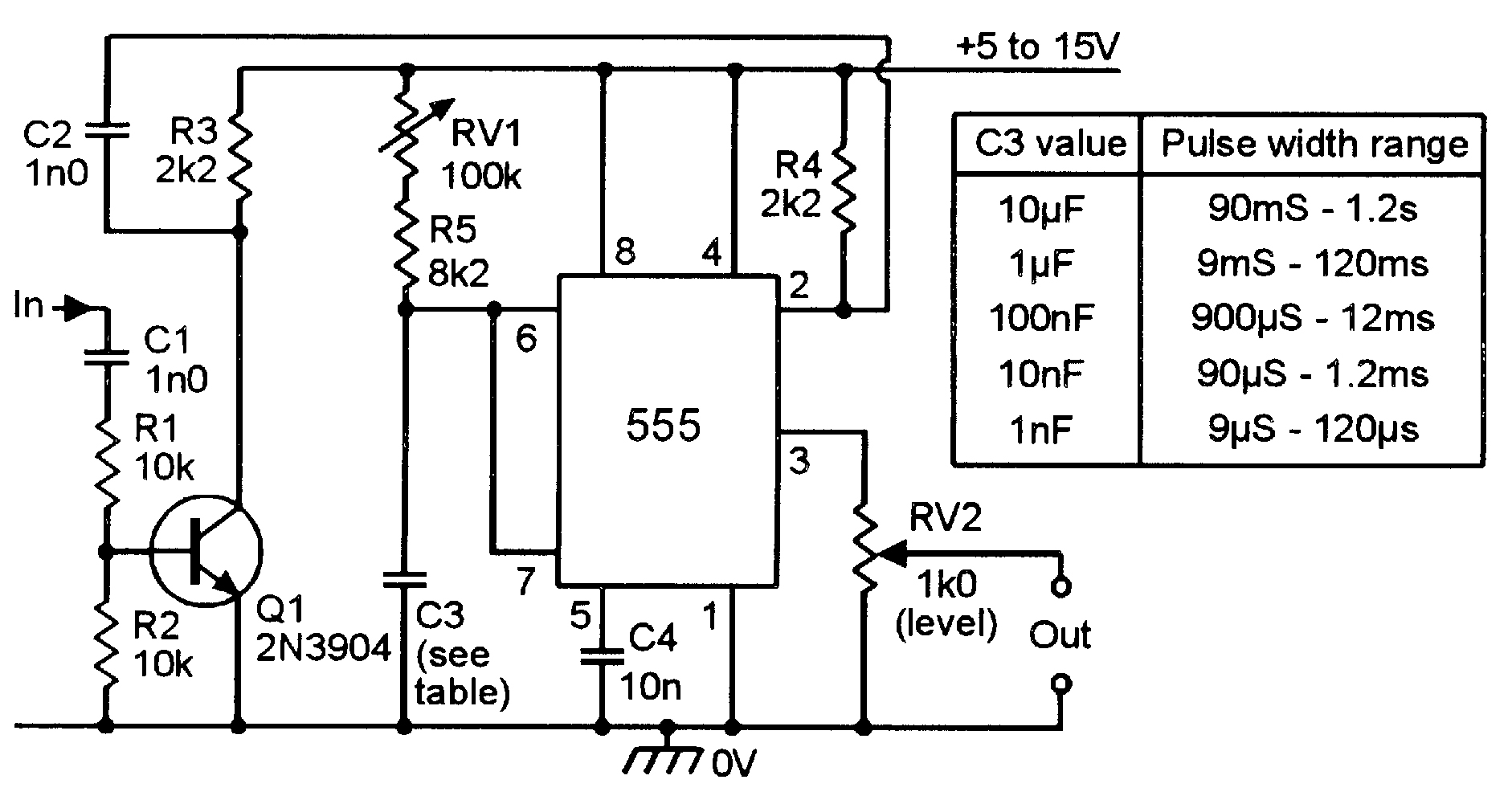 555 Monostable Circuits Nuts Volts Magazine Charger Circuit Using A Single Transistor It Starts Charging When Pulse Generator