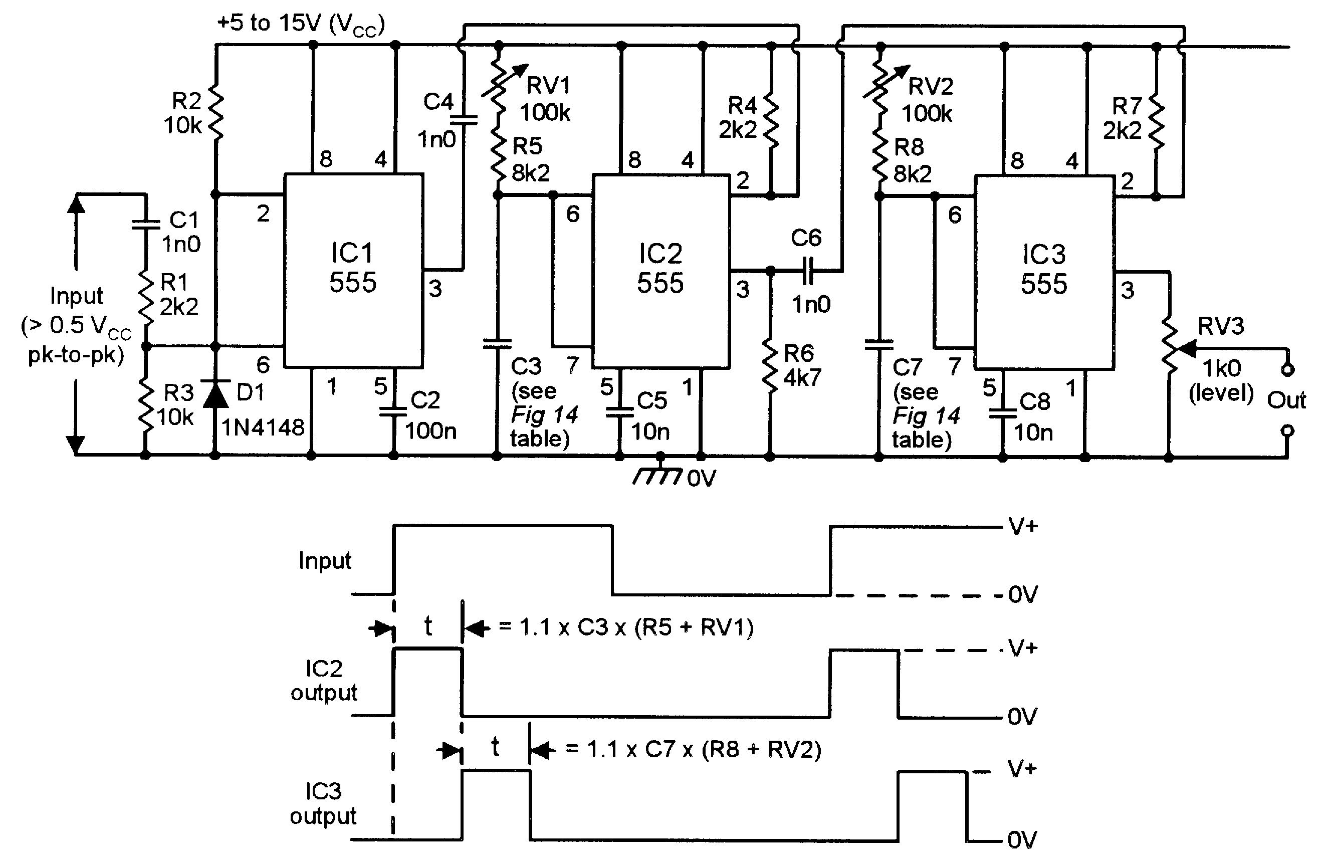 555 Monostable Circuits Nuts Volts Magazine Astable Multivibrator Using Ne Timer Ic Circuit Diagram