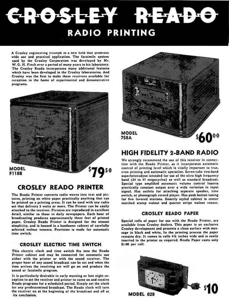 Just The Radio Fax Maam Nuts Volts Magazine Crosley Car Wiring Diagram Reado Facsimile System Was Sold In Component Form Main Unit Printer Also Most Expensive But Could Be Used With Any