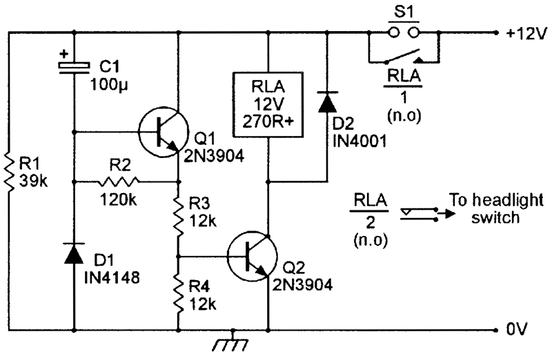 Security Electronics Systems And Circuits Part 10 Nuts Volts. A Headlight Timedelay Switch Circuit. Wiring. Security Key Light Switch Wiring Diagram At Scoala.co