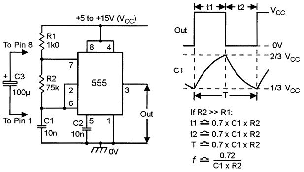 555 astable circuits nuts volts magazine rh nutsvolts com 555 timer circuit diagram project 555 timer circuit diagram project