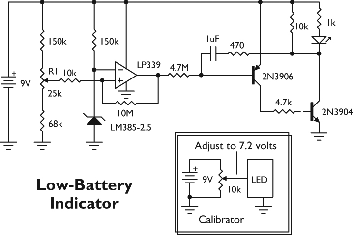 from the q and a nuts \u0026 volts magazinethe circuit below monitors the voltage of the nine volt battery, and flashes the led every two seconds when the voltage falls below 7 2 volts (the voltage