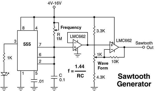 from the q and a nuts   volts magazine Sawtooth Generator Op-Amp Transistor Voltage Generator Circuit Diagram