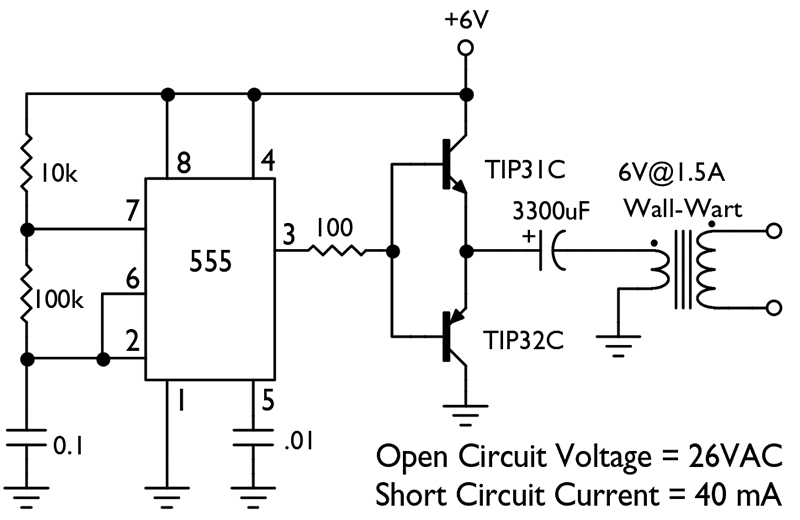 From the q and a nuts volts magazine as for the circuit above it delivers an output equal to that found in most portable ground resistance testers 26vac open at 40 ma shorted ccuart Gallery