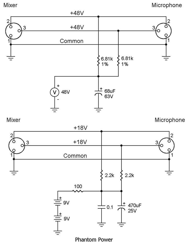 From The Q And A Nuts Volts Magazine Negative Power Supply Circuit Resistors Typically Limit Short Current To About 8 Ma This Protects Hopefully Mic An Incorrect Connection